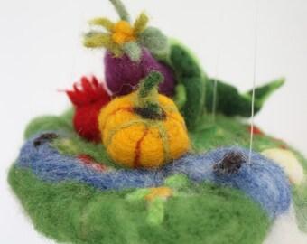Waldorf Mobile, Abundance garden vegetables ornament, Horn of Plenty, Cornucopia toy, Jewelry pillow, farm housewarming, felted story play