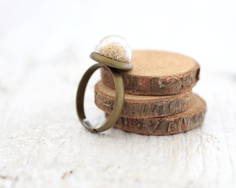 Beach Sand Ring, Floating Sand Ring, Sand Jewelry,  Sand Ring, Golden Sand, Beach Ring, Summer Ring, Nautical Ring, Sea Jewelry, Ocean