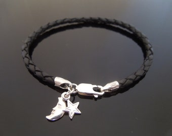 3mm Black Braided Leather Bracelet With 925 Sterling Silver Star & Moon Charm