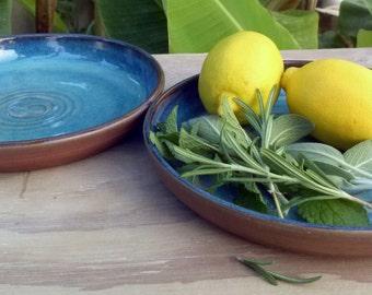 Hand thrown Ceramic Plate/pasta plate in unique Sea Blue Glaze -