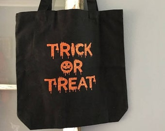 Trick Or Treat Bag, Halloween Tote Bag, Hand Made, Happy Halloween Bag, Unique Gifts, Personalized Bag, Personalized Tote