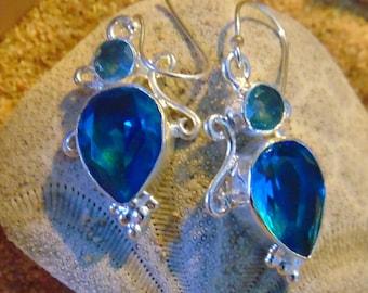 Vintage Blue Topaz and Sterling Silver Drop Earrings