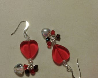 Valentine red heart earrings with red and black beads with clear white heart