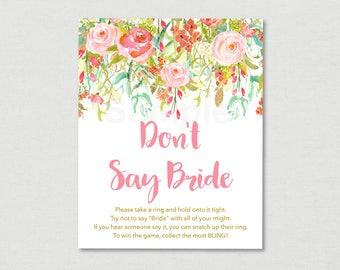 Floral Don't Say Bride Game / Floral Bridal Shower / Watercolor Floral / Pink Floral / Bridal Shower Game / Printable INSTANT DOWNLOAD B104