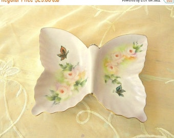 SPRING SALE - Pretty Pink China Painted Butterfly Shaped Trinket Dish, Vintage Item, Hand Painted in 1974, Candy Dish, Vanity Decor, Home De