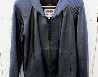 Vintage Womens Ladies Black Leather Jacket Zip Front 2 Pockets Fully Lined Size 12 c1990s