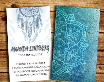Yoga Business Card, Business Card for Wellness Coach, Mandala Business Card, Yoga Instuctor
