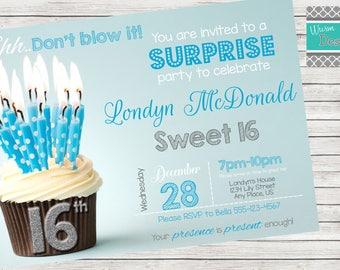 Sweet 16th Birthday Party Invitation - Printable