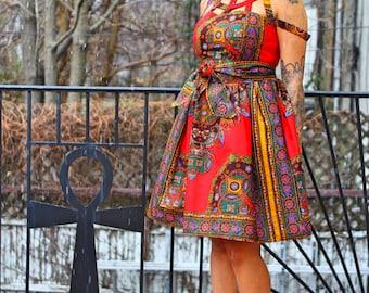 NIA - African Print Red Dashiki Java Wax Print Dress -sale