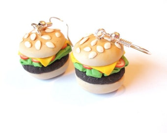 Hamburger Earrings Food Earrings ( polymer clay funny jewelry food jewelry kids jewelry gift for her handmade miniature food fast food )