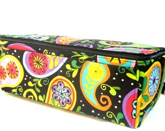 Super Large 6 inch Depth Double Wide Fabric Coupon Organizer - With ZIPPER CLOSER  Black Paisley Floral