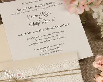 Rustic Pearl White Lace Pocket Wedding Invitation