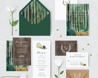 Woodland Wedding Invitation Suite - Forest - Greenery - Nature - Watercolor - Backyard - Rustic - Aveline Suite