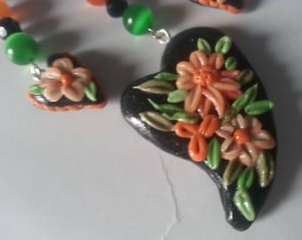 Ornament pendant, earrings, cold porcelain