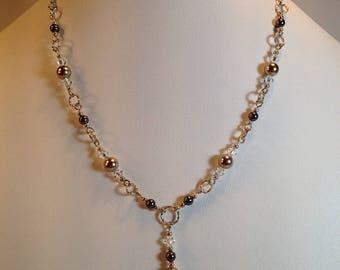 Short Necklace Swarovski pearls, Swarovski crystal necklace, Burgundy and bronze necklace, Evening chic necklace, Fashion mode necklace C237