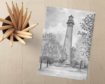 Currituck Lighthouse Drawing - Currituck Lighthouse - Outer Banks Lighthouse - Lighthouse Art - Lighthouse Drawing - Lighthouse Wall Decor