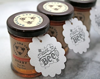 Personalized wedding favor tags, Meant to Bee, set of 20, honey tags, beehive design with names and date, for honey jar favors, shower favor
