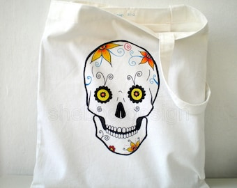 Skull Tote Bag, back to school tote,   Hand Painted Floral skull  Cotton  Twill Gabardine ,  gift under 25