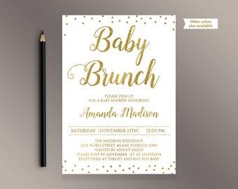 Baby Brunch invitation, Gold confetti Baby Shower invite, White and gold invites, It's a girl, It's a Boy, Digital Printable invitations