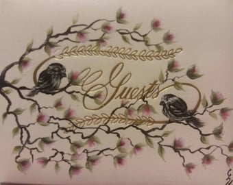 Wedding Guest book with Cherry Blossoms and Birds on Tree Branches Hand Painted OOAK