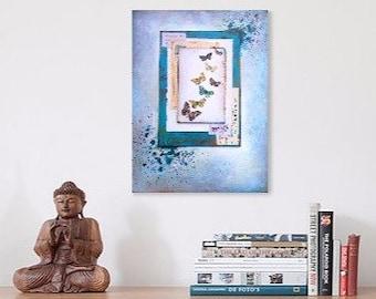 Original art,butterfly art, butterfly canvas, mixed media art, original mixed media, original collage, blue painting, original painting