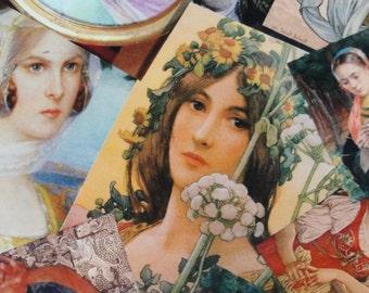 Portraits of Ladies printed Cotton fabric art Nouveau, Victorian, Reminiscence, popart