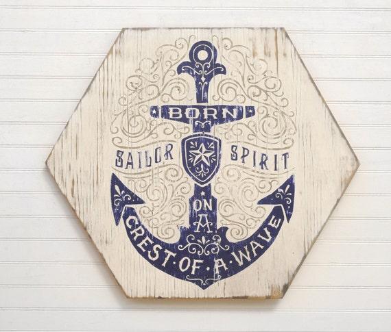 Anchor Wall Decor Sailor Art Nautical Decor Navy Quote Coast