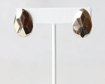 Vintage Avon Goldtone Faceted Large Post Earrings