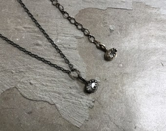 Herkimer Diamond Necklace - Quartz Bezel Necklace - Oxidized Sterling Silver Necklace - Simple Metalwork Necklace - Raw Crystal Necklace
