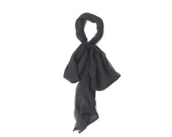 Black silk scarf bow in crinkle chiffon