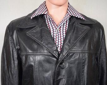 Vintage 1960's Men's Men's SEARS Black Leather ReTrO HiPPiE HiPsTeR Car Coat Jacket 40 R
