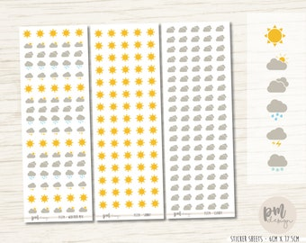 Weather #2 Stickers - Mixed, Sunny, Party Cloudy, Cloudy, Rain, Storm, Snow - FS114