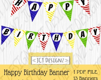 Happy Birthday Banner, Multicolored banner, red banner, blue banner, yellow banner, green banner, happy birthday banner, multicolored bday