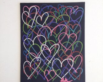 8x10 One-Of-A-Kind Heart Paintings - Vertical + Multi-Color