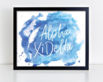 AXiD Alpha Xi Delta Watercolor Script Ready To Frame Poster