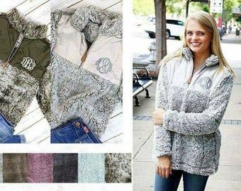 Frosty Tip Sherpa Pullover with Embroidered Monogram; Embroidered Monogram Sherpa; Sherpa Pullover; Monogram Sherpa; Monogrammed Fleece