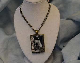 24 in necklace 1 inch pendant sad crying angel cemetery angel gray rose glass covered  mourning necklace