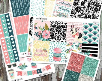 Summer Vertical Planner Sticker Kit - Vintage Floral Weekly Sticker Kit for use in Erin Condren Life Planner™