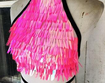 Sequin halter top Bad Barbie Hot pink iridescent sequin top rave festival wear