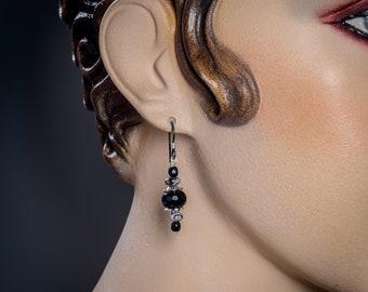 Black Onyx, Snowflake Obsidian earrings with Niobium ear wire