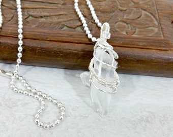 Quartz Crystal Pendant Necklace Wire Wrapped Pendant Statement Necklace Boho Necklace Wire Wrapped Jewelry Gift for Her Gift for Mom