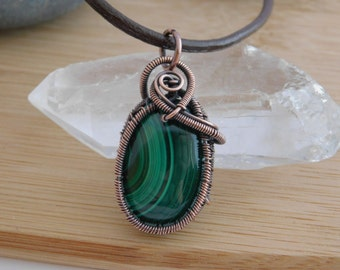 Green Malachite Cabochon Oxidized Copper Wire Wrapped Pendant Jewelry Handmade Pendant Weave Crystal Healing Amulet Medallion Handcrafted