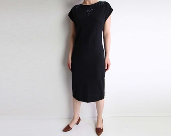 VINTAGE Dress Knit Dress Beaded Charcoal Grey Medium