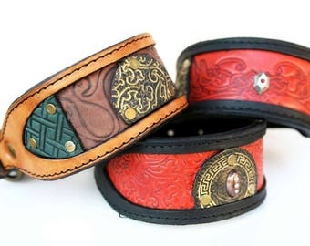 Handmade leather dog collars for small breeds | LILIES | Italian Greyhounds | Whippets | Artistic dog collars | Custom made | Personalized
