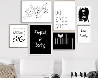 Minimalistic Quote Wall Prints, Set of 7, Artsy, wall art, wall decor, home decor, poster, inspire, motivating- Digital Graphic Download