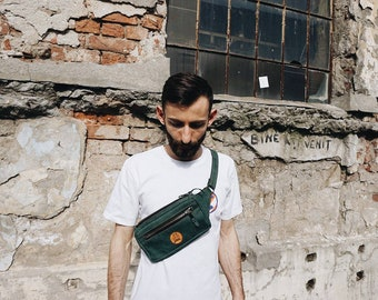 Green leather fanny pack| Leather waist bag