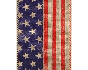 "2-1/2"" Wired Edge American Flag Ribbon - USA - 4th of July - Stars & Stripes - Red/White/Blue - 25 Yards - Natural"