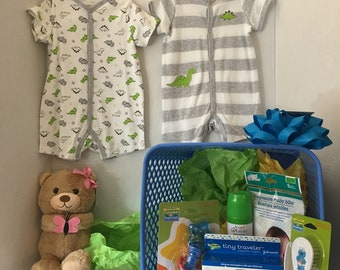 Baby Boy Shower Basket - Little Dino