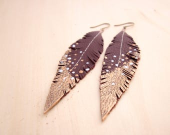Burgundy, Copper and Silver Hand-painted Reclaimed Leather Feather Earrings