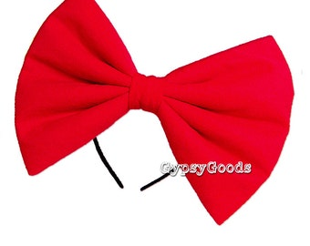 XL EXTRA LARGE Flannel Hair Bow (Headband) Adult Big cosplay or costume hairbow in Red, Black, White, Pink, Blue, Purple or Yellow